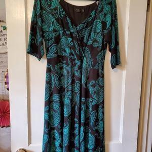 IGIGI 14/16 empire waist black and green dress